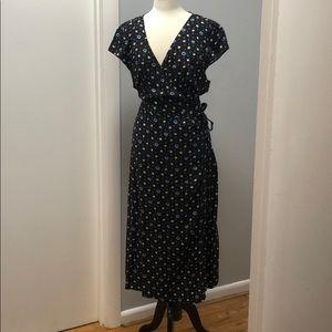 EUC JCrew Mercantile floral maxi wrap dress